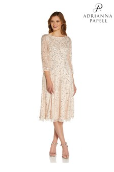 Adrianna Papell Nude Beaded Cocktail Dress