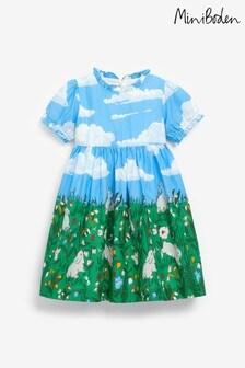فستان منسوج ياقة كشكش أزرق من Boden