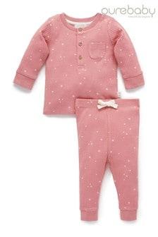 Purebaby Pink Henley Pyjama Set