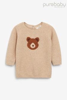 סוודר של Purebaby עם עיטור דובי קטן