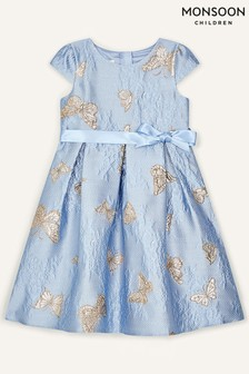 Monsoon Blue Butterfly Jacquard Dress