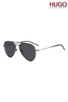 HUGO Silver/Grey Pilot Sunglasses