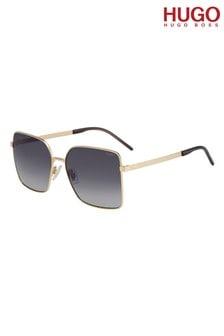 HUGO Oversized Gold Sunglasses