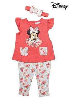 Disney Minnie Mouse Pink 3 Piece Top, Legging & Headband Set