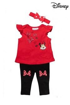 Disney Minnie Mouse Red 3 Piece Top, Legging & Headband Set