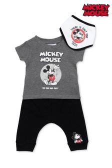 Disney Mickey Mouse Charcoal 3 Piece T-Shirt, Shorts & Bib Set