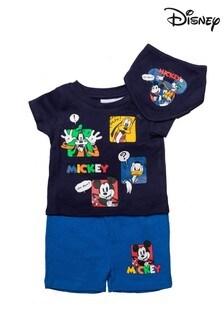 Disney Mickey & Friends Blue 3 Piece T-Shirt, Shorts & Bib Set