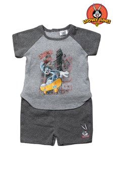 Looney Tunes Bugs Bunny Grey 2 Piece T-Shirt & Shorts Set