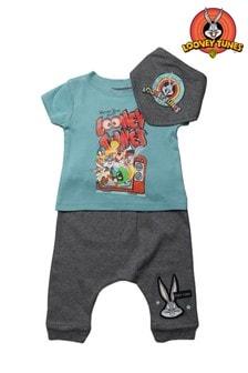 Looney Tunes Teal 3 Piece T-Shirt, Jogger & Bandana Bib Set