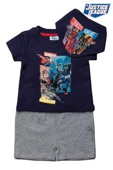 Justice League Navy 3 Piece T-Shirt, Short And Bandana Set