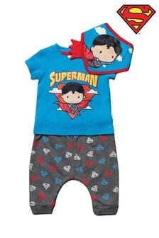 Superman Blue 3 Piece Top, Jogger & Bandana Bib Set