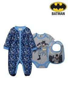 Batman Navy 3 Piece Babygrow Set
