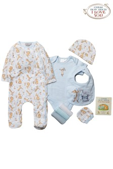 Guess How Much I Love You Baby Blue 10 Piece Babygrow, Book Set