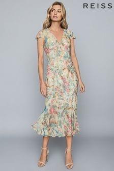 Reiss Lilly Floral Print Chiffon Midi Dress