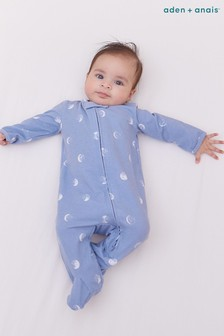 aden + anais Comfort Knit Blue Moon Footie Bodysuit