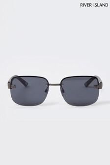 River Island Dark Grey Rimless Navigator Sunglasses