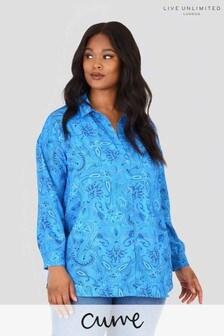 חולצה מויסקוזה בת קיימא של LIVE למידות גדולות עם הדפס פייזלי בכחול