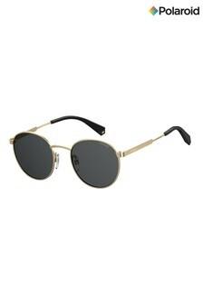 Polaroid Round Gold/Grey Polarised Lens Sunglasses