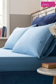 Joules Blue Plain Fitted Sheet