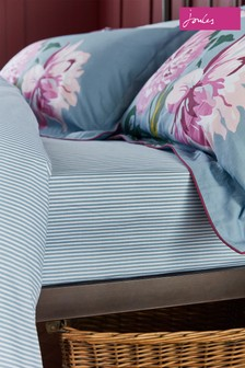 Joules Blue Melrose Floral Fitted Sheet