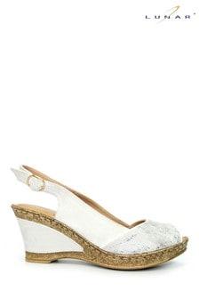 Lunar White Binks Wedged Summer Sandals