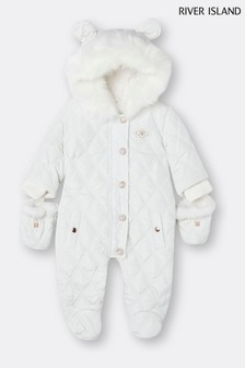 River Island White Winter Quilted Snowsuit