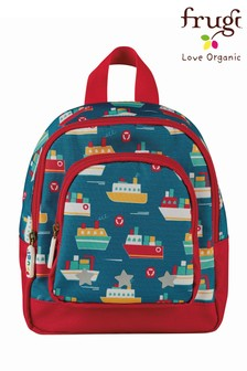 Frugi Blue Boats Recycled Backpack With Reins