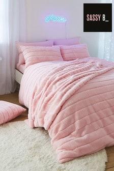 Różowa, miękka pościel ze sztucznego futra Sassy B Hella: poszewka na kołdrę i poduszki