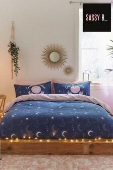 Sassy B Blue Cosmic Babe Duvet Cover And Pillowcase Set