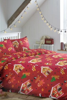 Bedlam Red Gingerbread Duvet Cover and Pillowcase Set