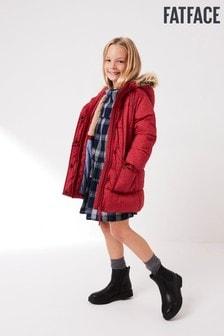 Розовая удлиненная куртка с принтом FatFace Lily
