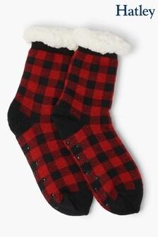 Красные носки в шотландскую клетку с подкладкой из искусственного меха Hatley