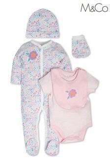 M&Co Pink Floral Newborn Starter Set