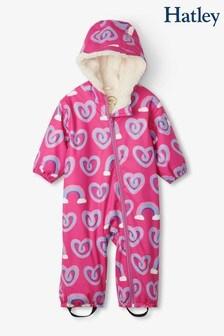 Hatley Purple Twisty Rainbow Hearts Sherpa Lined Baby Bundler