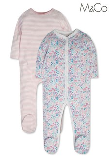 M&Co Pink Ditsy Floral Sleepsuits 2 Pack