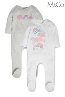 M&Co White Unicorn Sleepsuit 2 Pack