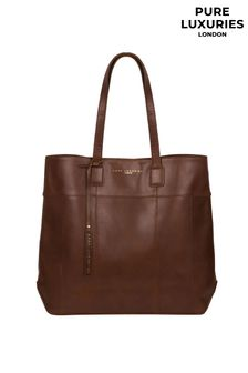 Pure Luxuries London Pembury Ombre Chestnut Leather Tote Bag