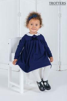 فستان أزرق بياقة مموجة Anna من Trotters London