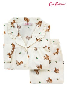 Cath Kidston Cream Long Sleeve Woven Garden Squirrels Pjs