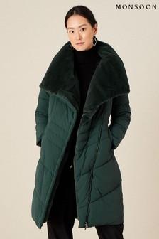 Зеленая дутая куртка с воротником из искусственного меха Monsoon
