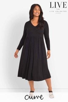 LIVE Curve Sustainable Jersey Black V Neck Midi Dress