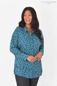 חולצה בגזרה ארוכה עם נקודות מבד ויסקוזה בר קיימא בצבע כחול של LIVE Curve