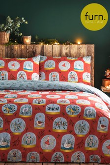 Furn Red Twelve Days of Christmas Duvet Cover and Pillowcase Set