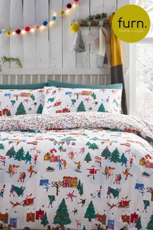 Furn White Christmas Together Duvet Cover and Pillowcase Set
