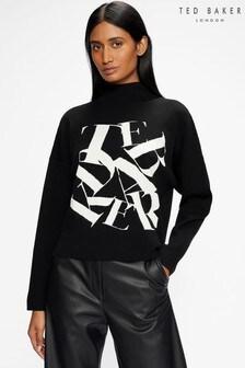 Ted Baker Black Izbelle Funnel Neck Branded Sweater