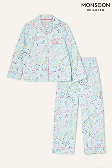 Monsoon Blue Polly Printed Flannel Pyjama Set