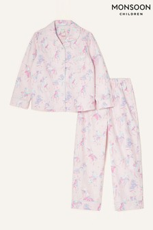 Monsoon Pink Ada Unicorn Flannel Pyjama Set