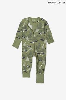 Polarn O. Pyret Organic Cotton Forest Print Onesie Pyjamas