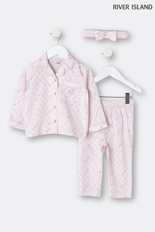 River Island Pink Medium Satin Long-Sleeve Monogram Pyjama Set