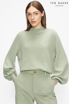 Ted Baker Green Shano Balloon Sleeve Sweater